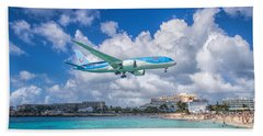 Tui Airlines Netherlands Landing At St. Maarten Airport. Beach Towel by David Gleeson