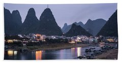 Twilight Over The Lijang River In Yangshuo Beach Towel