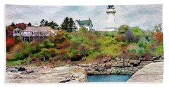 Beach Sheet featuring the photograph Two Lights - Maine by Joseph Hendrix