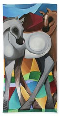 Beach Towel featuring the painting Two Ponies by Lance Headlee