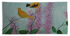 Two Yellow Chickadees Beach Sheet