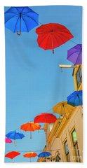 Umbrellas In The Sky Beach Towel