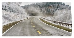 Beach Towel featuring the photograph Unexpected Autumn Snow Highland Scenic Highway by Thomas R Fletcher