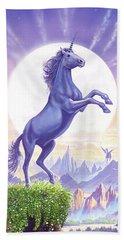 Unicorn Moon Ravens Beach Towel by Steve Crisp