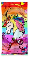 Beach Towel featuring the digital art Unicorn Popart By Nico Bielow by Nico Bielow
