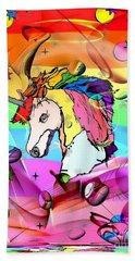 Unicorn Popart By Nico Bielow Beach Towel by Nico Bielow