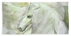 Beach Sheet featuring the mixed media Unicorn Rose by Carol Cavalaris