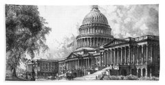 United States Capitol Building Beach Towel by War Is Hell Store