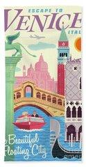 Venice Retro Travel Poster Beach Sheet