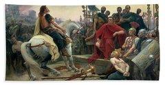 Vercingetorix Throws Down His Arms At The Feet Of Julius Caesar Beach Sheet