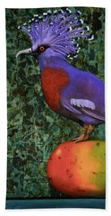 Victoria Crowned Pigeon On A Mango Beach Sheet by Leah Saulnier The Painting Maniac