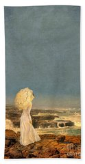 Victorian Lady By The Sea Beach Towel by Jill Battaglia
