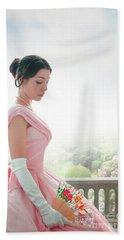 Victorian Woman In A Pink Ball Gown Beach Sheet by Lee Avison