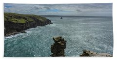 View From The Cliffs At Tintagel  Beach Towel