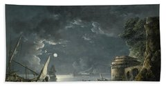 Beach Sheet featuring the painting View Of A Moonlit Mediterranean Harbor by Carlo Bonavia