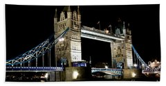View Of The River Thames And Tower Bridge At Night Beach Sheet