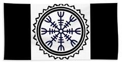 Beach Towel featuring the digital art Viking Helm Of Awe by Vagabond Folk Art - Virginia Vivier