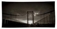 Vincent Thomas Bridge Beach Sheet by Joseph Hollingsworth