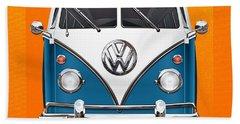 Volkswagen Type 2 - Blue And White Volkswagen T 1 Samba Bus Over Orange Canvas  Beach Towel