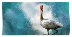 Wading Ibis Beach Towel by Cyndy Doty