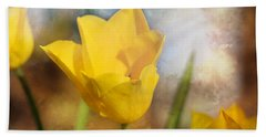 Water Lily Tulip Flower Beach Towel