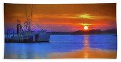 Watercolor Sunset Beach Towel