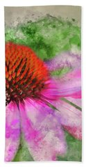 Watercolour Painting Of Coneflower Rubinstern Echinacea Purpurea Beach Towel