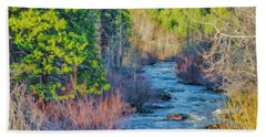 Beach Towel featuring the photograph West Fork Rapids by Nancy Marie Ricketts
