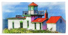 West Point Lighthouse Sketched Beach Towel