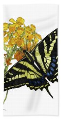 Western Tiger Swallowtail On A Western Wallflower Beach Towel