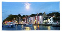 Beach Towel featuring the photograph Weymouth Harbour Full Moon by Anne Kotan