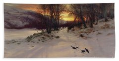 When The West With Evening Glows Beach Sheet by Joseph Farquharson
