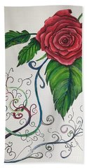 Whimsical Red Rose Beach Towel