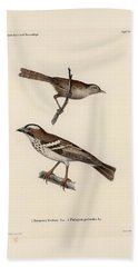White-browed Sparrow-weaver And Grass Or Bush Warbler Beach Towel