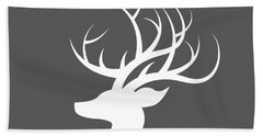 White Deer Silhouette Beach Towel