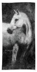 White Horse Portrait Beach Sheet
