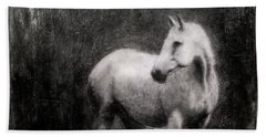 White Horse Beach Towel by Roseanne Jones