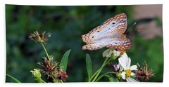 White Peacock Butterfly Beach Towel