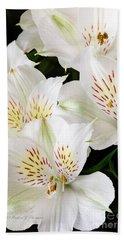 White Peruvian Lilies In Bloom Beach Sheet