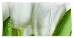White Tulips Beach Sheet by Nailia Schwarz