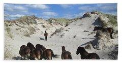 Wild Horses In The Noordhollandse Duinreservaat Beach Sheet