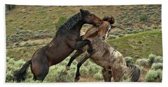 Wild Mustang Stallions Fighting Beach Sheet