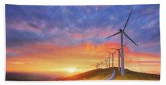 wind turbines in Oiz eolic park Beach Towel