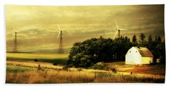 Wind Turbines Beach Towel by Julie Hamilton