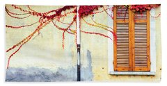 Beach Towel featuring the photograph Window And Red Vine by Silvia Ganora