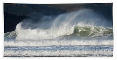 Beach Towel featuring the photograph Windy Seas In Cornwall by Nicholas Burningham