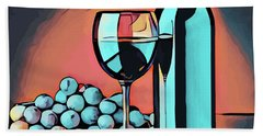 Wine Glass Bottle And Grapes Abstract Pop Art Beach Towel