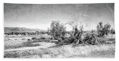 Withered Bushes In The Desert Bw Beach Towel