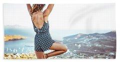 Woman Meditating Outdoors Beach Towel