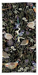Woodland Edge Birds Beach Towel by Jacqueline Colley